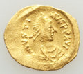 Ancients:Byzantine, Ancients: Justin I (AD 518-527). AV tremissis (16mm, 1.49 gm, 6h).VF, graffito....