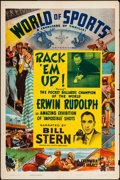 "Movie Posters:Sports, World of Sports Stock Poster (Columbia, 1944). Folded, Fine/Very Fine. One Sheet (27"" X 41""). ""Rack 'Em Up! Sports.. ..."