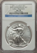 Modern Bullion Coins, 2011-S $1 Silver Eagle, 25th Anniversary, First Strike MS70 NGC. NGC Census: (18281). PCGS Population: (8158). ...