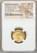 Ancients:Byzantine, Ancients: Constans II Pogonatus (AD 641-668). AV solidus (20mm,4.41 gm, 7h). NGC MS 5/5 - 4/5, clipped....