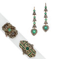Estate Jewelry:Lots, Emerald, Diamond, Sapphire, Gold, Silver Jewelry. ... (Total: 3 Items)