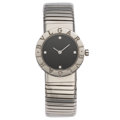 Estate Jewelry:Watches, Bvlgari Lady's Diamond, Steel Tubogas Watch. ...