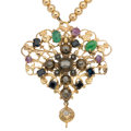 Estate Jewelry:Lots, Diamond, Multi-Stone, Gold Pendant-Necklace. ...