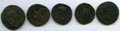 Ancients:Ancient Lots  , Ancients: ANCIENT LOTS. Roman Imperial. Ca. 1st century BC-1stcentury AD. Lot of five (5) AE issues. Fine-Choice VF.... (Total: 5coins)
