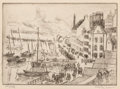 Prints & Multiples:Print, Hayley R. Lever (American, 1876-1958). Wharf Front (Dovareney, Brittany) (1st state). Drypoint on paper. 6-7/8 x 9-1/2 i...
