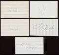 Autographs:Index Cards, Basketball Greats Signed Index Card Lot of 5....