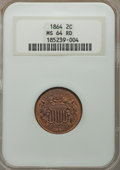 Two Cent Pieces, 1864 2C Large Motto MS64 Red NGC. NGC Census: (112/157). PCGS Population: (302/345). MS64. Mintage 19,847,500. ...