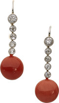 Estate Jewelry:Earrings, Diamond, Coral, Platinum-Topped Gold, Gold Earrings . ...