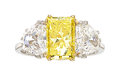 Estate Jewelry:Rings, Fancy Vivid Yellow Diamond, Diamond, Platinum, Gold Ring, Garrard& Co., English. ...