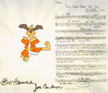 Animation Art:Presentation Cel, Hong Kong Phooey Publicity Cel Setup with Signed Music Chart (Hanna-Barbera, 1974)....