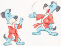 Animation Art:Concept Art, Huckleberry Hound as Hong Kong Phooey Cel and Drawing Setup ConceptArt (Hanna-Barbera, c. 1970s)....