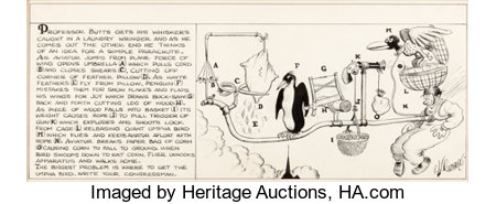 """Rube Goldberg Collier's Weekly """"The Inventions of Professor Lucifer G. Butts, A.K."""" Comic Strip Original Art dated 8-8-31 (McN..."""