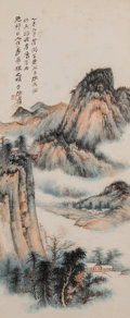 Asian:Chinese, Attributed to Zhang Daqian (Chinese, 1899-1983) . Landscape. Ink and color on paper. 37-1/2 x 15-1/2 inches (95.3 x 39.4...