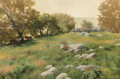 Paintings, Lanford Monroe (American, 1950-2000). Grazing Horses on a Late Summer Day, 1985. Oil on panel. 23-1/2 x 35-1/2 inches (5...