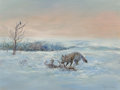 , William Standing (American, 1904-1951). Winter Wolf. Oil onboard. 15-1/4 x 20-1/4 inches (38.7 x 51.4 cm). Signed lower...