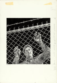 "Escape from Alcatraz by Victor Gadino (Paramount, 1979). Signed Original Graphite Drawing on Illustration Board (15""..."