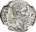 Ancients:Roman Imperial, Ancients: Augustus (27 BC-AD 14). AR denarius (19mm, 3.81 gm, 7h).NGC MS 5/5 - 3/5. ...