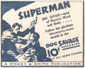 Memorabilia:Superhero, Doc Savage Magazine Point of Sale House Ad (Street & Smith, 1934)....