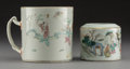 Asian:Chinese, A Chinese Export Porcelain Mug and Famille Rose Sauce Boat...