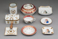 Decorative Arts, French:Other , Nine French Napoleonic Porcelain Table Items, 20th century. Marks:(various). 2-1/2 inches high x 4-3/4 inches di...