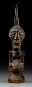 Tribal Art, A Songye Half Figure With Horn Height:  16...