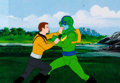 Animation Art:Production Cel, Star Trek Captain Kirk and Orion Pirate Production Cel (Filmation, 1974). ...