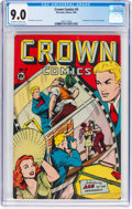 Golden Age (1938-1955):Miscellaneous, Crown Comics #4 (Golfing/McCombs Publishing, 1945) CGC VF/NM 9.0 Off-white to white pages....