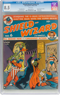 Shield-Wizard Comics #6 (MLJ, 1941) CGC VF+ 8.5 White pages