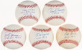 Autographs:Baseballs, Rookie of the Year Single Signed & Inscribed Baseball Lot of 5:Grim, Hansen, Kubek, McDougal, & Sievers - All PSA/DNA NM+ or... (Total: 5 items)