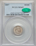 Seated Half Dimes: , 1857 H10C MS65 PCGS. CAC. PCGS Population: (80/50). NGC Census: (93/54). CDN: $600 Whsle. Bid for problem-free NGC/PCGS MS6...
