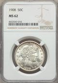 Barber Half Dollars: , 1908 50C MS62 NGC. NGC Census: (29/80). PCGS Population: (27/128). MS62. Mintage 1,354,545. . From The Gary Verner Coll...