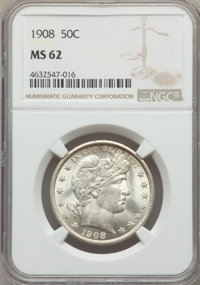 1908 50C MS62 NGC. NGC Census: (29/80). PCGS Population: (27/128). MS62. Mintage 1,354,545. From The Gary Verner Coll...