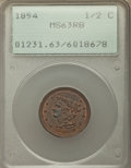 1854 1/2 C MS63 Red and Brown PCGS. PCGS Population: (41/102). NGC Census: (0/0). CDN: $450 Whsle. Bid for NGC/PCGS MS63...