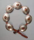 American Indian Art:Jewelry and Silverwork, A Navajo Concho Belt...