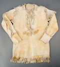 American Indian Art:Beadwork and Quillwork, A Plains Painted Hide Scout Shirt...