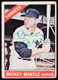 Autographs:Sports Cards, Signed 1966 Topps Mickey Mantle #50....