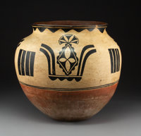 A Large Santo Domingo Polychrome Storage Jar Attributed to Monica Silva