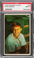 Baseball Cards:Singles (1950-1959), 1953 Bowman Color Stan Musial #32 PSA Mint 9 - None Higher. ...