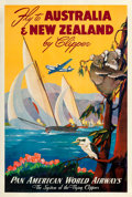 "Movie Posters:Miscellaneous, Fly to Australia & New Zealand (Pan American World Airways, 1950s). Travel Poster (28.25"" X 48.25"") Mark von Arenburg Artwor..."