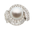 Estate Jewelry:Rings, South Sea Cultured Pearl, Diamond, Platinum Ring. ...