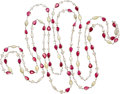 Estate Jewelry:Necklaces, Diamond, Ruby, Opal, White Gold Necklace. ...