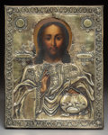 Decorative Arts, Continental, A Russian Partial Gilt Silver and Wood Icon. Marks: 84,(Moscow mark), (effaced-1833), ЯM. 10-5/8 x 8-3/4 inches(27...