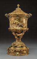 Decorative Arts, French:Other , A Pierre Jules Mene Gilt Bronze Urn with Hunting Motifs, France,mid-19th century . Marks: P. J. MENE. 15-1/2 x 8-1/4 x ...