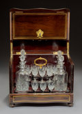 Decorative Arts, French:Other , A French Napoleon III Brass Inlaid Mahogany Cavé à Liqueur, circa1860. 10-3/4 x 12-7/8 x 9-7/8 inches (27.3 x 32.7 x 25.1 c...