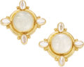 Estate Jewelry:Earrings, Moonstone, Mother-of-Pearl, Venetian Glass, Gold Earrings, Elizabeth Locke. ...