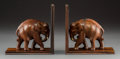 Decorative Arts, Continental, Two African Carved Rosewood Elephant Bookends, 20th century. 7-7/8x 8 x 3-3/4 inches (20.0 x 20.3 x 9.5 cm). ... (Total: 2 Items)