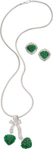 Estate Jewelry:Suites, Jadeite Jade, Diamond, White Gold Jewelry Suite. ... (Total: 2Items)