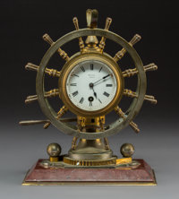 A French Ship's Wheel Presentation Clock Barometer, Paris, late 19th century Marks: DEREPAS, OPTIGIEN
