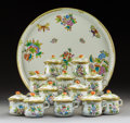 Ceramics & Porcelain, Twelve Herend Queen Victoria Pattern Porcelain Covered Pots de Crème with Torte Plate, Herend, Hungary, 20th cen... (Total: 13 Items)