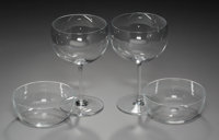 Fifteen Baccarat Crystal Red Wine Glasses with Seven Baccarat Crystal Finger Bowls, Baccarat, France, 20th century